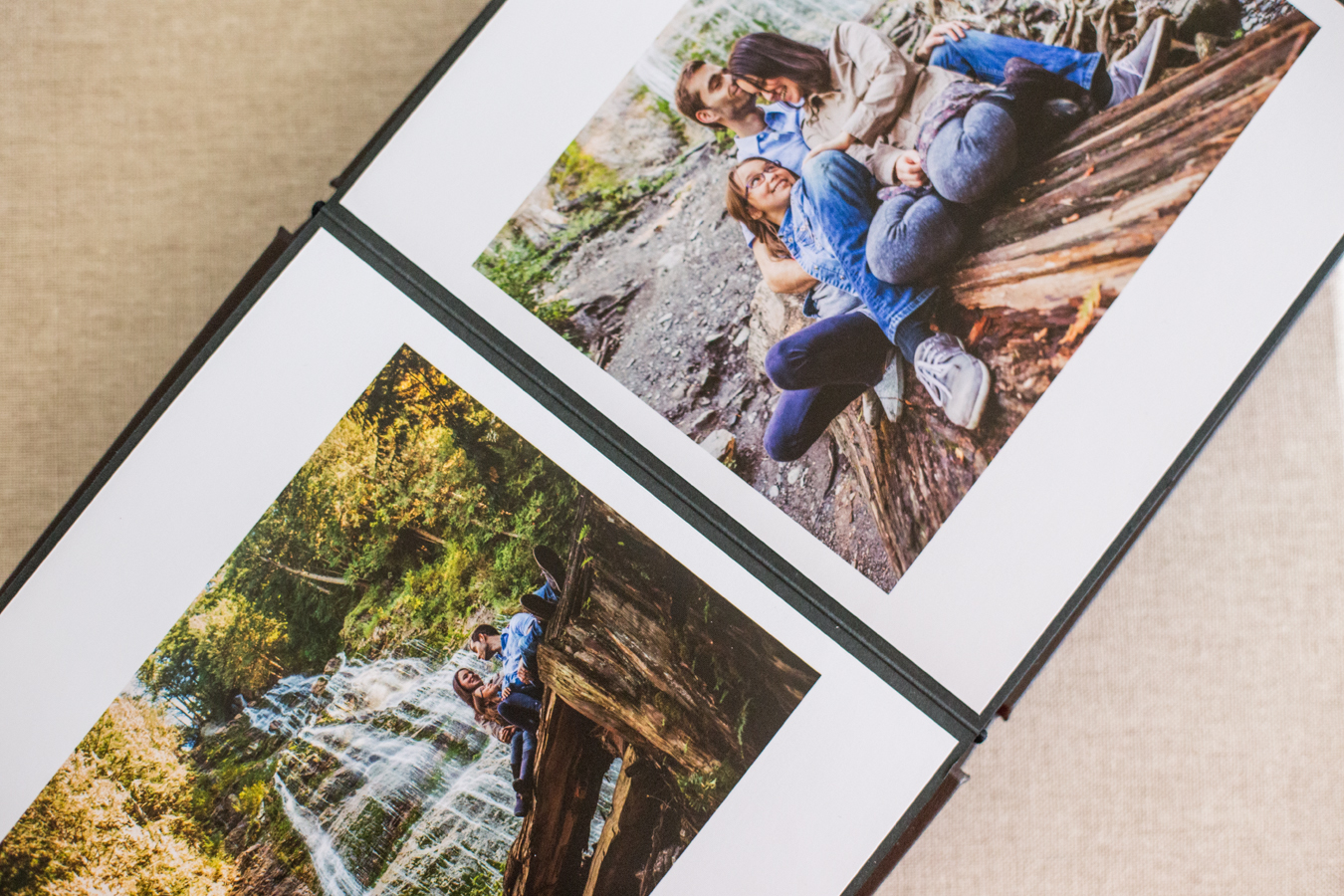 family portraits in a professional photo album