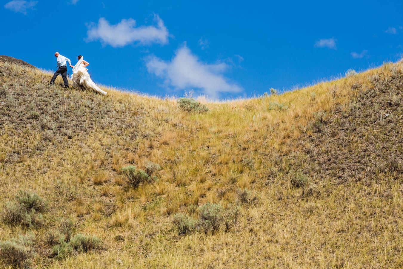 bride and groom on hillside