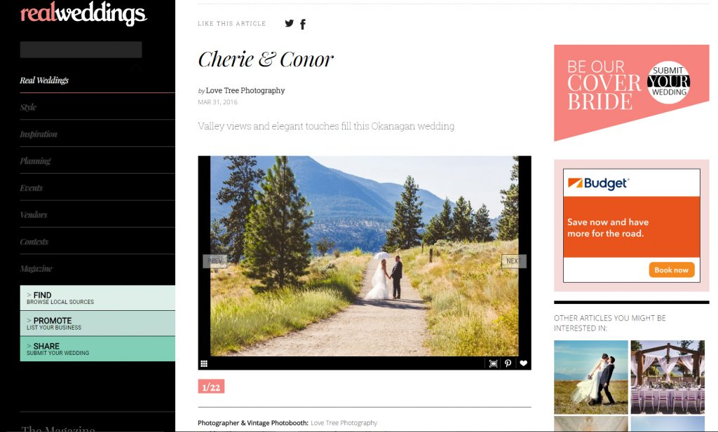 love tree photography was featured on Real Weddings Magazine, for this kelowna wedding