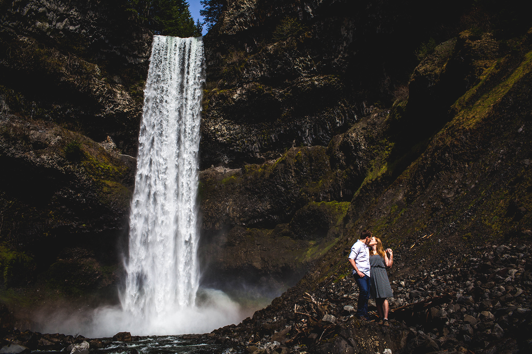 waterfall engagement session in British Columbia
