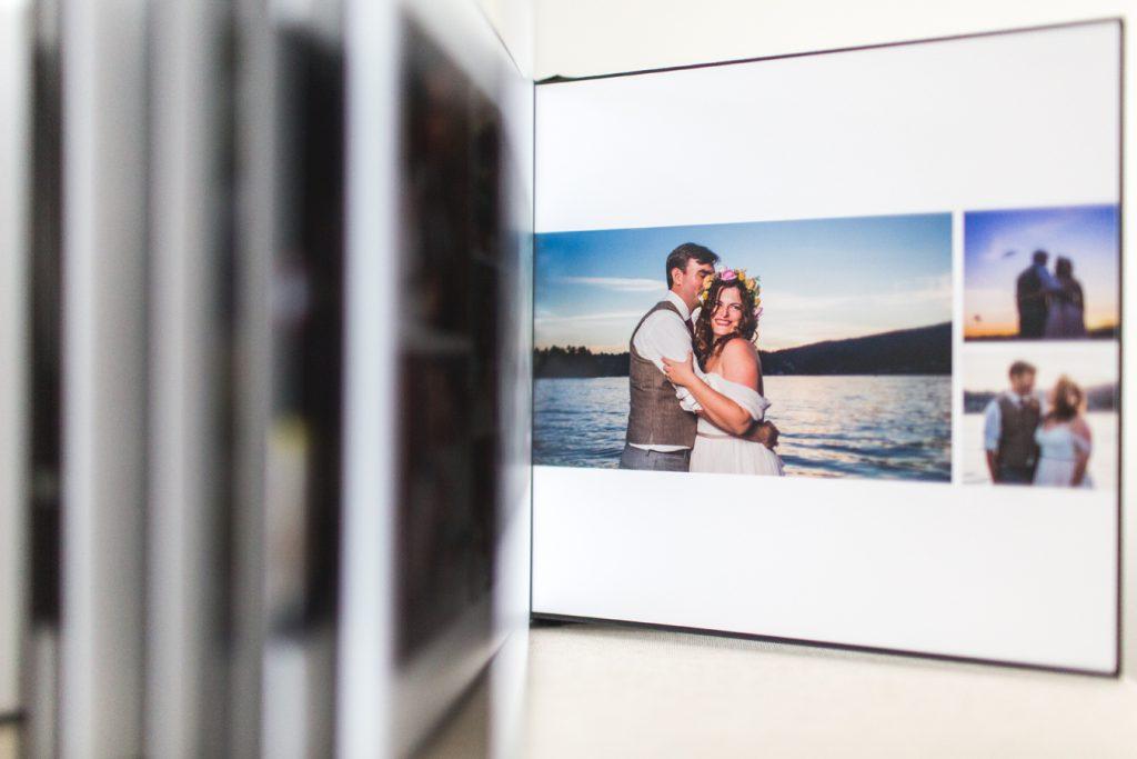 custom album design options inside of a wedding album