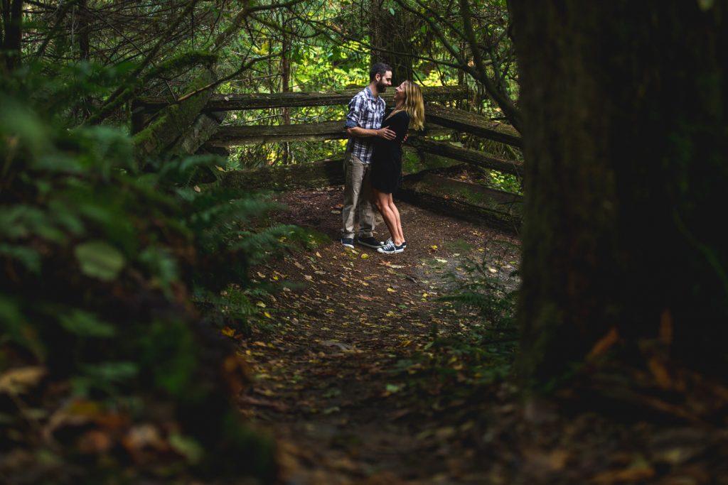 a couple walks along the trails at kanaka creek