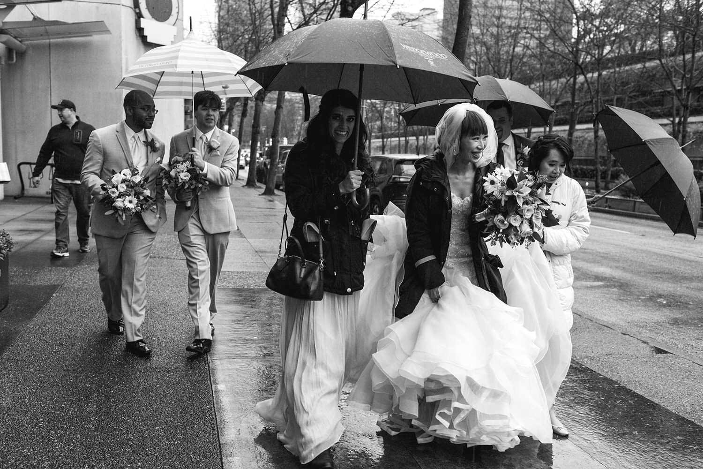 Downtown Vancouver Rainy wedding portraits