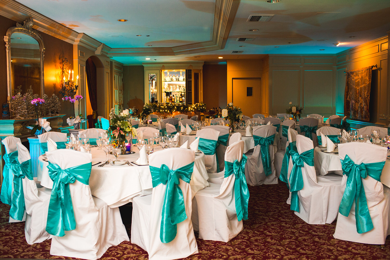 Reception Decor at the Wedgewood Hotel after it has been set up for a wedding