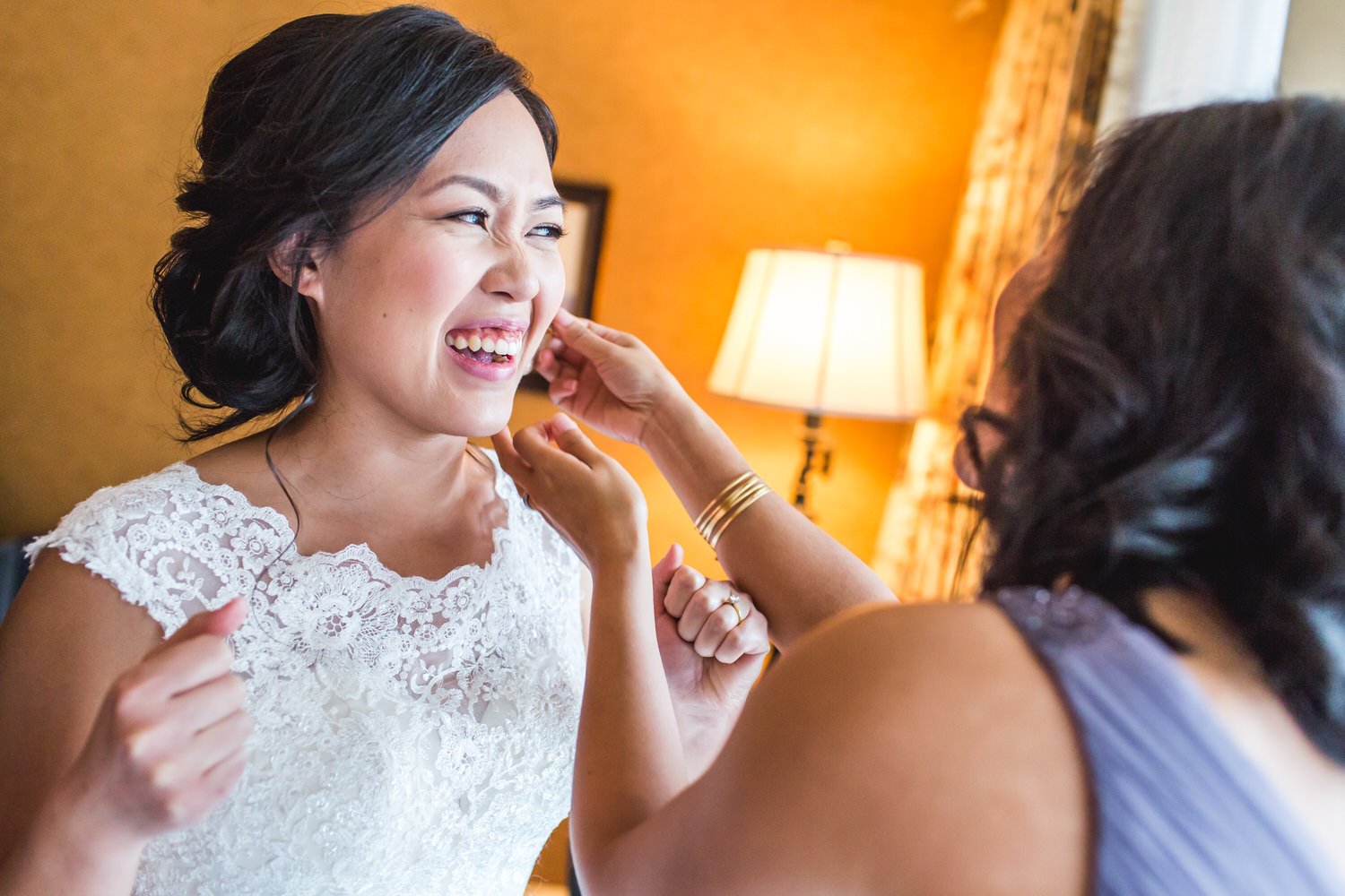 bride getting ready for her wedding at the wedgewood hotel in downtown vancouver