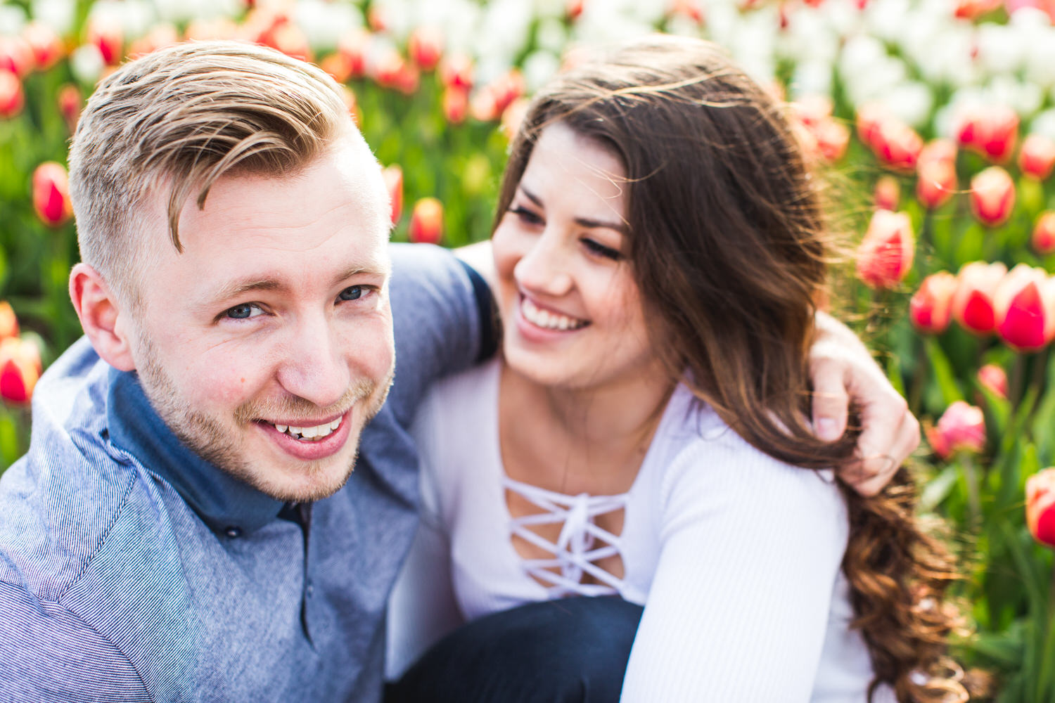 An engagment session shot at the Abbotsford Tulip Festival