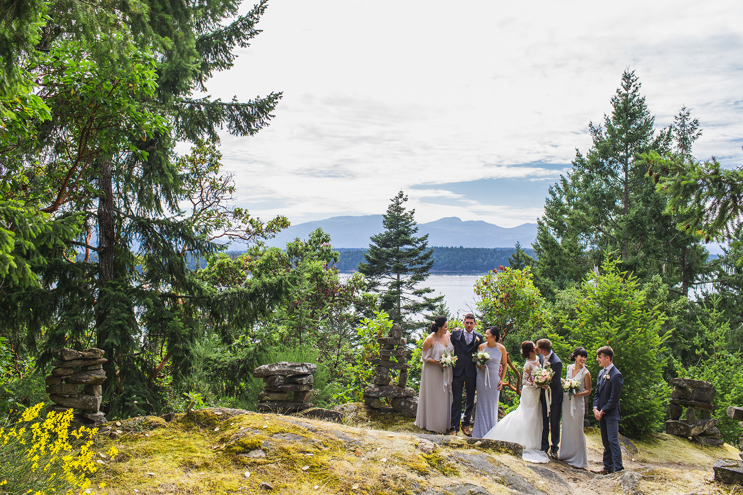 Wedding Party stands on the hill at Bodega ridge